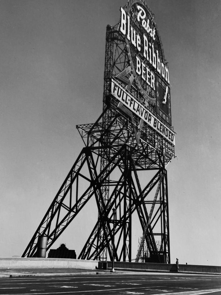 A black and white photograph, Pabst Blue Ribbon sign, Chicago, Illinois, 1946, by Walker Evans is sheet size: 11.75