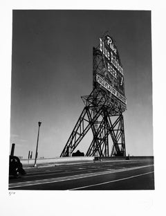 Pabst Blue Ribbon Sign, Chicago, USA, Black and White Landscape Photography
