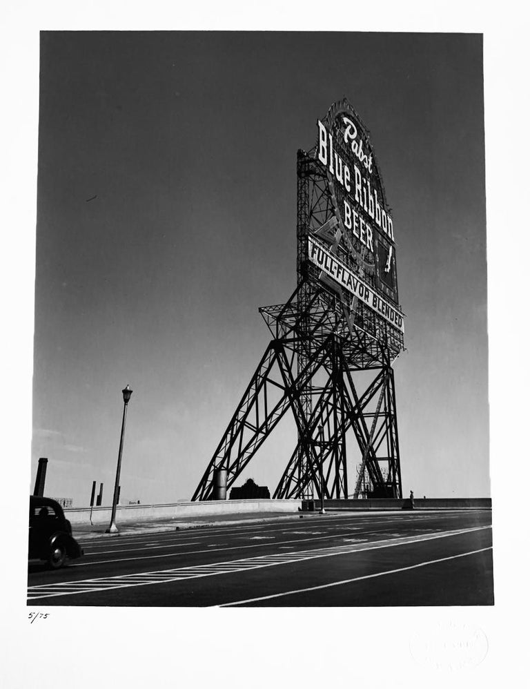 Walker Evans Black and White Photograph - Pabst Blue Ribbon Sign, Chicago, USA, Black and White Landscape Photography