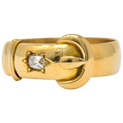 Walker & Hall Victorian Old Mine Diamond 18 Karat Gold Buckle Band Ring