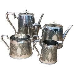 Walker & Hall Victorian Silver Plated English Tea Set, circa 1870