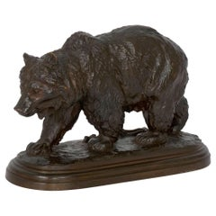 """Walking Bear"" French Bronze Sculpture by Isidore Bonheur & Peyrol"