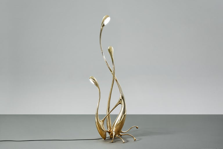 Chinese Walking Floor Lamp Polished or Matte Brass Gold Lighting Customizable For Sale