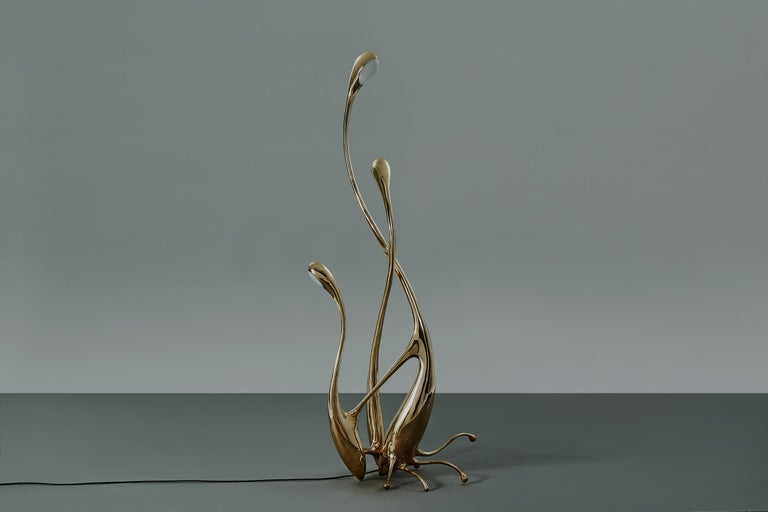 Walking Floor Lamp Polished or Matte Brass Gold Lighting Customizable In New Condition For Sale In Beverly Hills, CA
