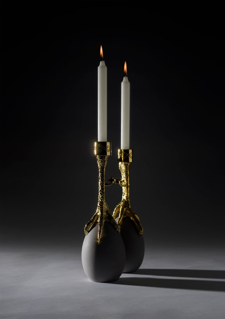 Modern Walking Hen Gold Plated Candleholder, Limited Edition by Aisha Al Sowaidi For Sale