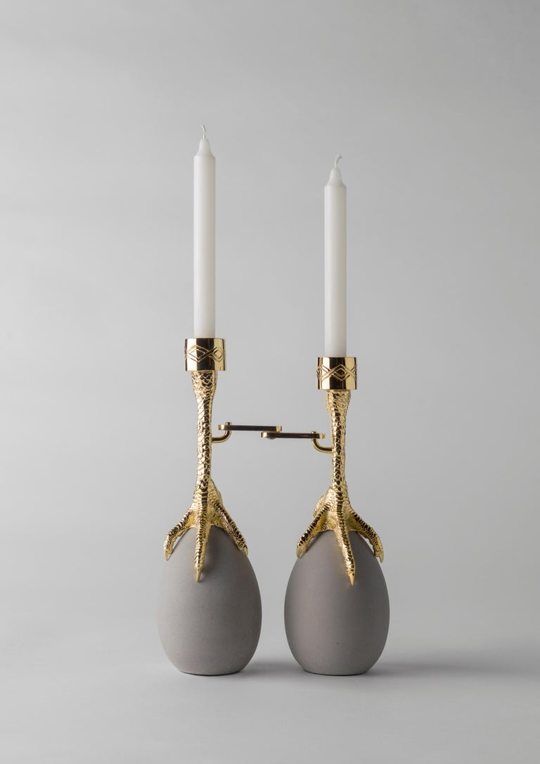 Contemporary Walking Hen Gold Plated Candleholder, Limited Edition by Aisha Al Sowaidi For Sale