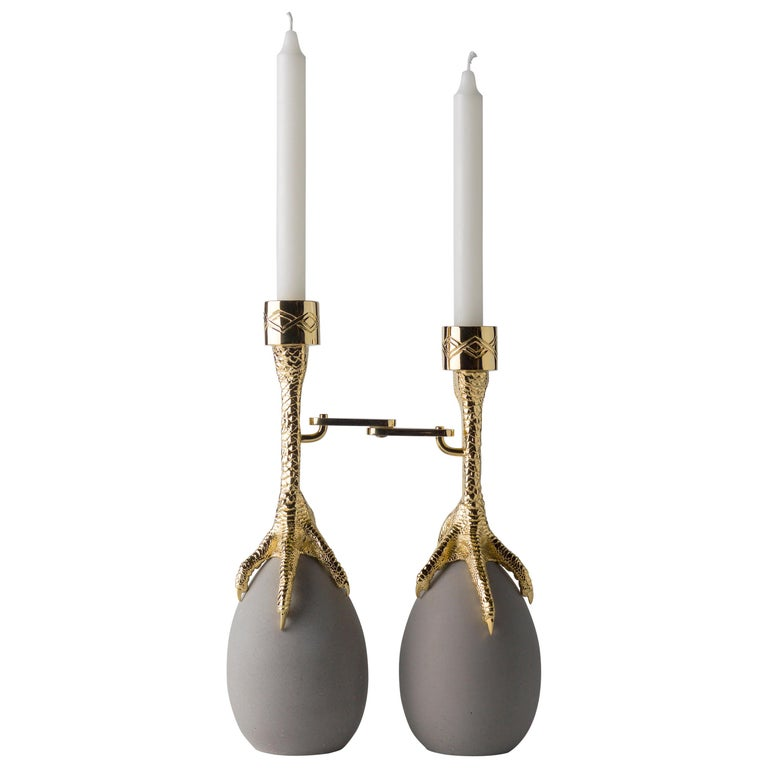 Walking Hen Gold Plated Candleholder, Limited Edition by Aisha Al Sowaidi For Sale
