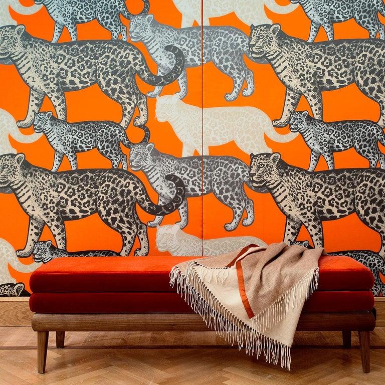 Modern Walking Leopards Orange Panel #1 For Sale