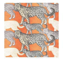 Walking Leopards Orange Panel #1