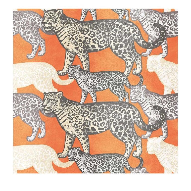 Walking Leopards Orange Panel #1 For Sale