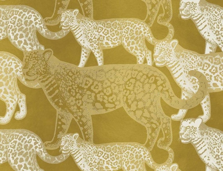 Modern Walking Leopards Yellow Panel For Sale