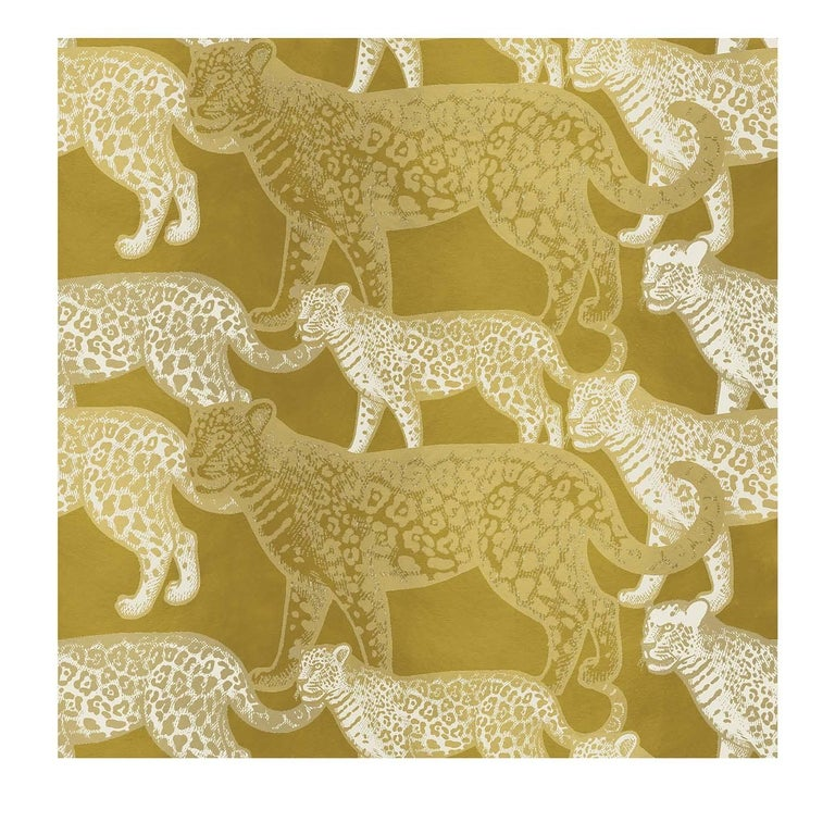 Walking Leopards Yellow Panel For Sale