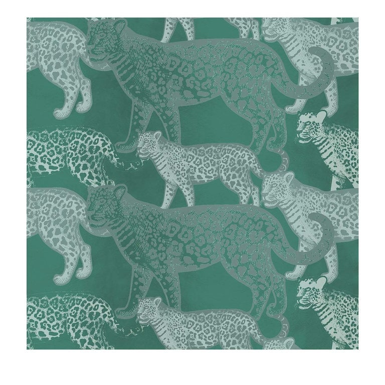 Walking Leopards Green Panel #2 For Sale