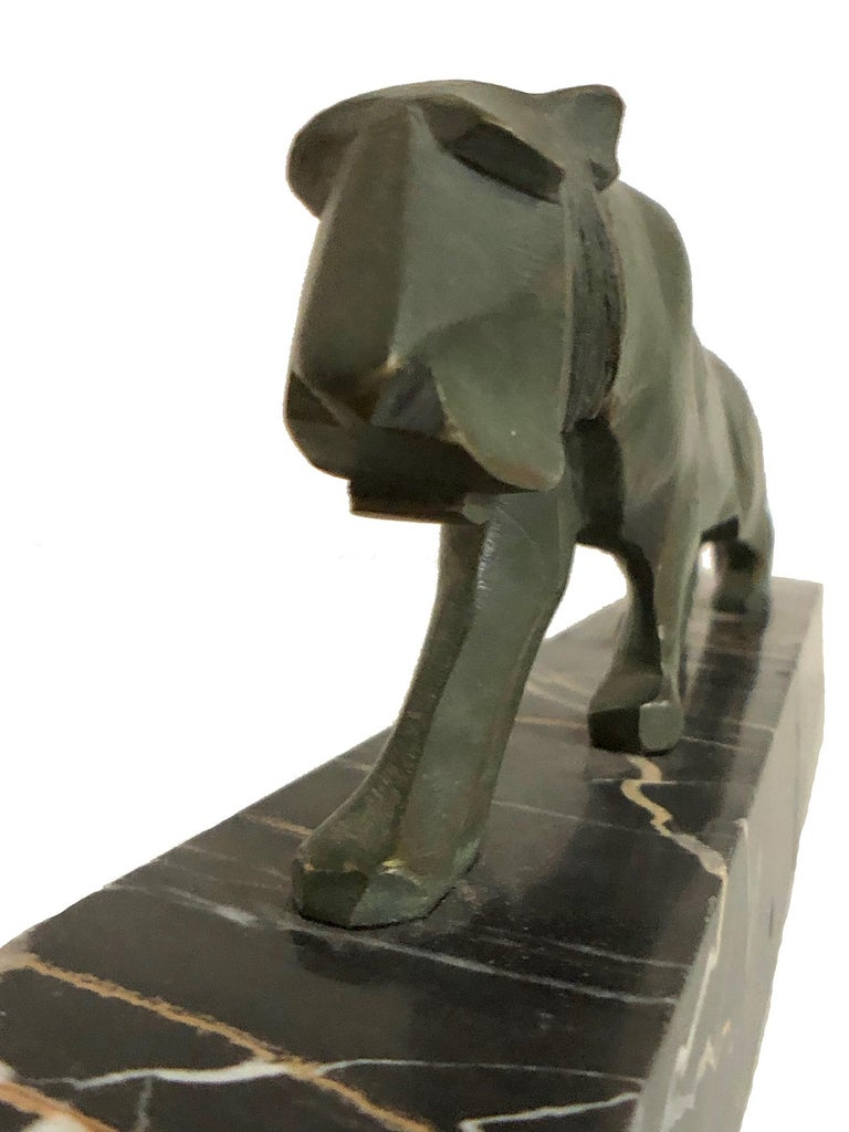 Walking Lion, Art Deco Bronze Sculpture on Marble Base, France, 1930s For Sale 5