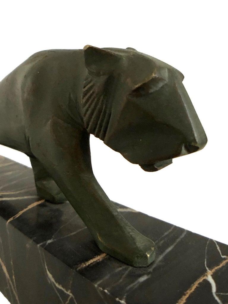 Walking Lion, Art Deco Bronze Sculpture on Marble Base, France, 1930s For Sale 6