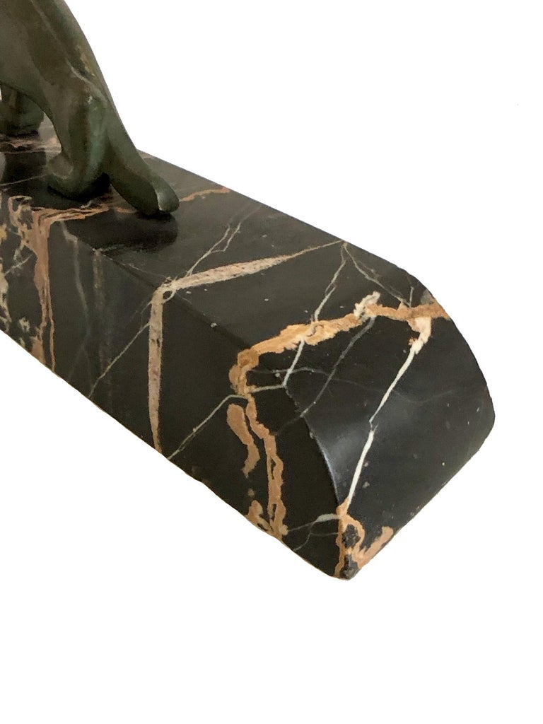Walking Lion, Art Deco Bronze Sculpture on Marble Base, France, 1930s For Sale 9