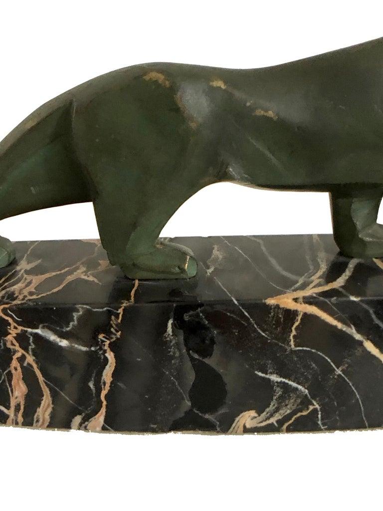 Walking Lion, Art Deco Bronze Sculpture on Marble Base, France, 1930s For Sale 11