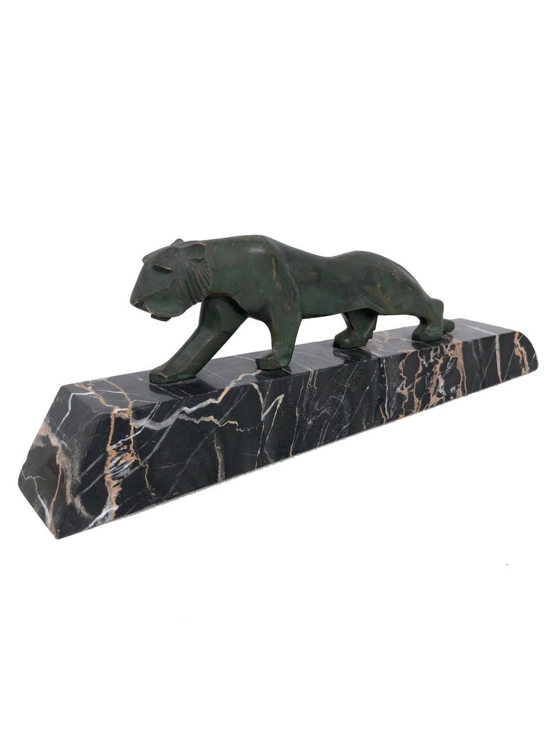 Walking Lion, Art Deco Bronze Sculpture on Marble Base, France, 1930s In Fair Condition For Sale In Baden-Baden, DE