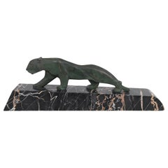 Walking Lion, Art Deco Bronze Sculpture on Marble Base, France, 1930s