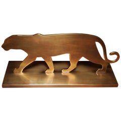 Walking Panther Shape Sculpture in Brass