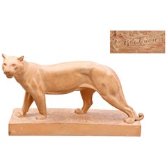 ''Walking Panther'' Terracotta, circa 1930 by Irénée Rochard Signed