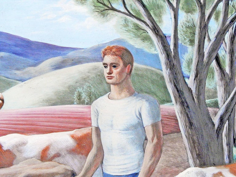 A cross between Grant Wood and Paul Cadmus, this remarkable American regional scene painting depicts a young man in a white t-shirt walking a group of cows down a country lane with picturesque clusters of farm buildings in the distance. Painted in