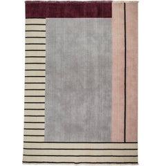 Grey/maroon  Wool Rug w/ stripes design by Cecilia Setterdahl for Carpets CC