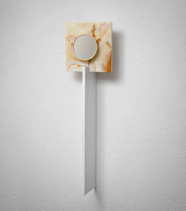 Wall architecture light catcher by Kaaron Rapt in contemplation Single piece Materials: Single onyx, blade of ceramique, wood sycamor Dimensions: Height 70 x diameter mirror 10 cm  Onyx 20 cm x 20 cm  Handcraft in France.  Kaaron Important