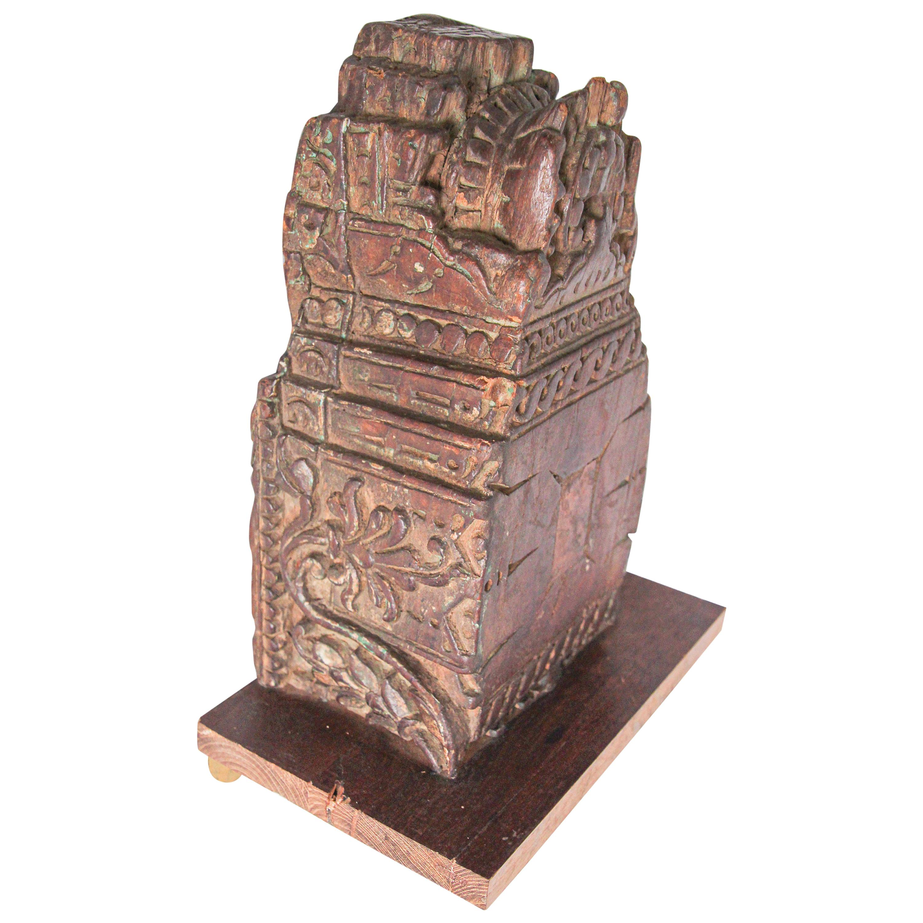Wall Bracket Architectural Carved Wood Fragment from India