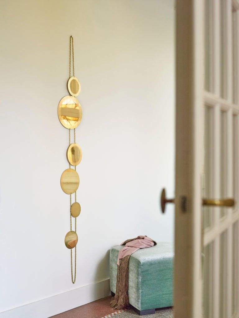 Modern Wall Brass Mirror For Sale