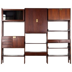 Wall Cabinet Cupboard, Bookcase Made of Teak, Italy, 1960s