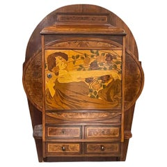 Wall Cabinet with Marquetry Inlays and Drawer Art Nouveau Vienna Austria, 1900s