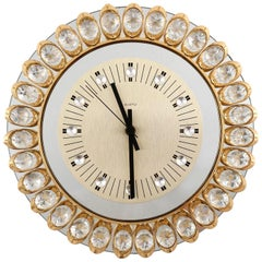 Wall Clock by Junghans, Germany, Gold Crystal Glass Mirror, 1970s