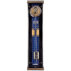 Wall Clock Gold-Plated Gold Pearls Sapphire Lapis Lazuli Erwin Sattler Movement