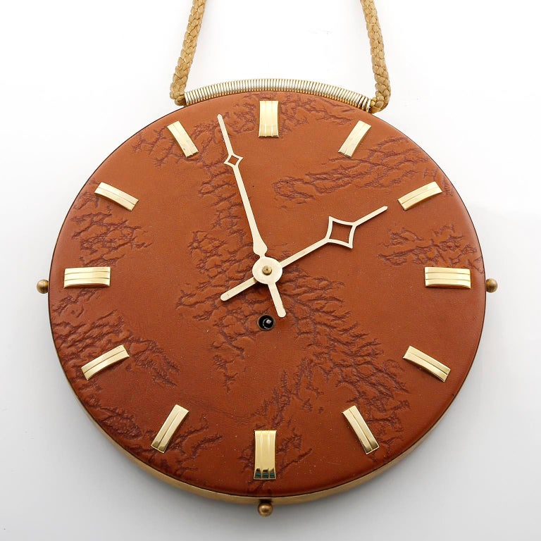 Mid-Century Modern Wall Clock Leather Brass, 1960s For Sale