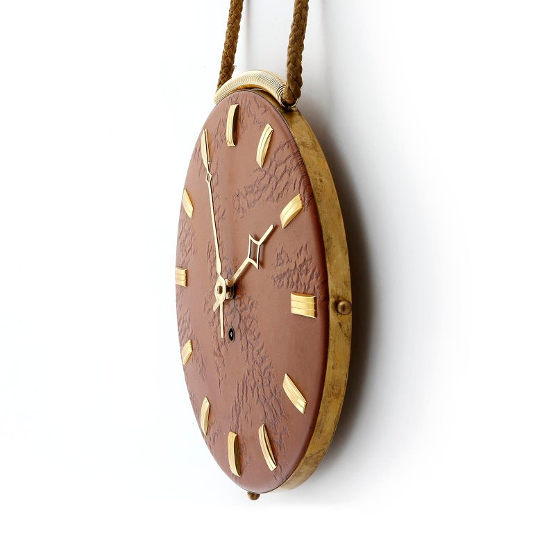 Italian Wall Clock Leather Brass, 1960s For Sale