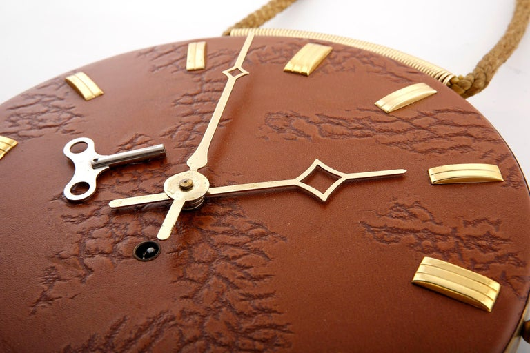 Mid-20th Century Wall Clock Leather Brass, 1960s For Sale