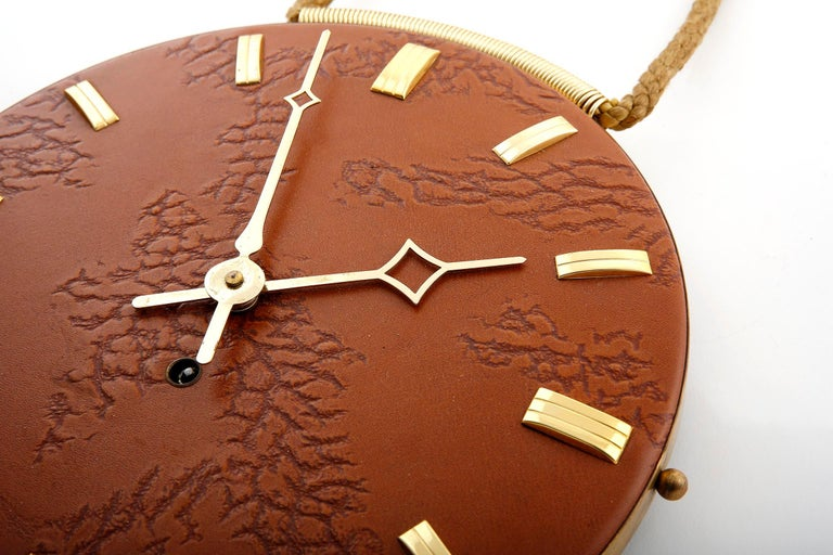 Wall Clock Leather Brass, 1960s For Sale 1