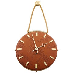 Wall Clock Leather Brass, 1960s