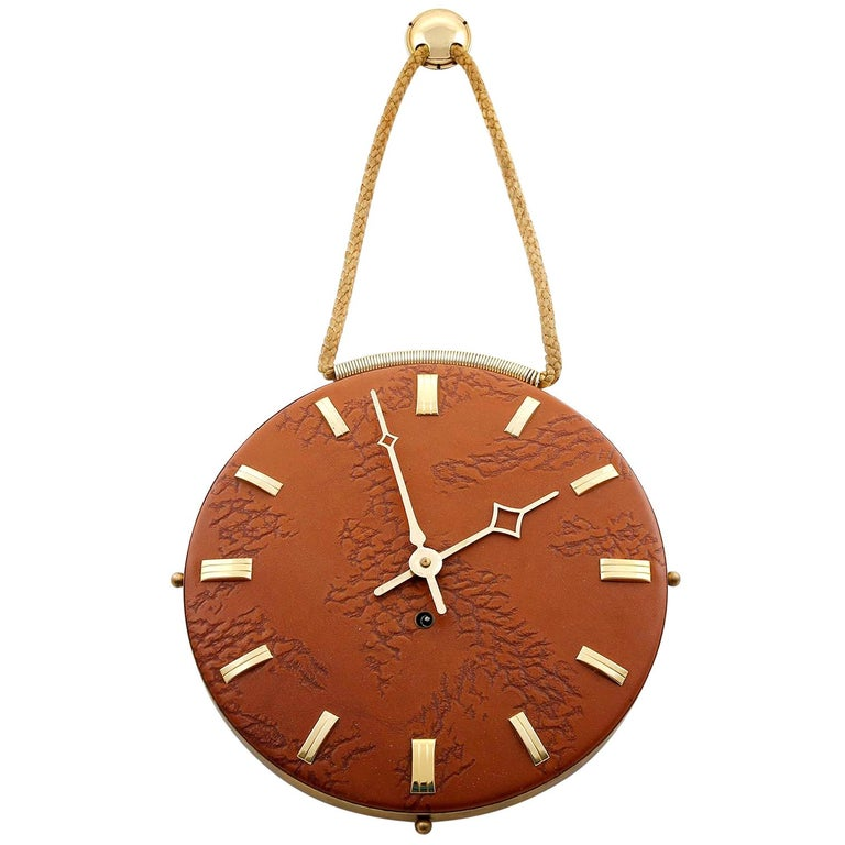 Wall Clock Leather Brass, 1960s For Sale