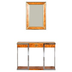 Wall Console and Mirror in Mappa Burl Wood, Chrome and Brass