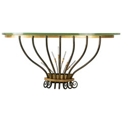 Wall console, Golden and Antique Wrought Iron, Crystal Pendants