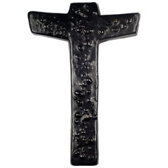 Wall Cross, Black, Textured Ceramic, Handmade in Belgium, 1970s