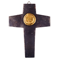 Wall Cross, Brown, Gold Medallion Ceramic, Handmade in Belgium, 1960s