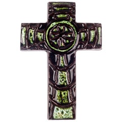 Wall Cross, Green Painted Ceramic, Handmade in Belgium, 1970s