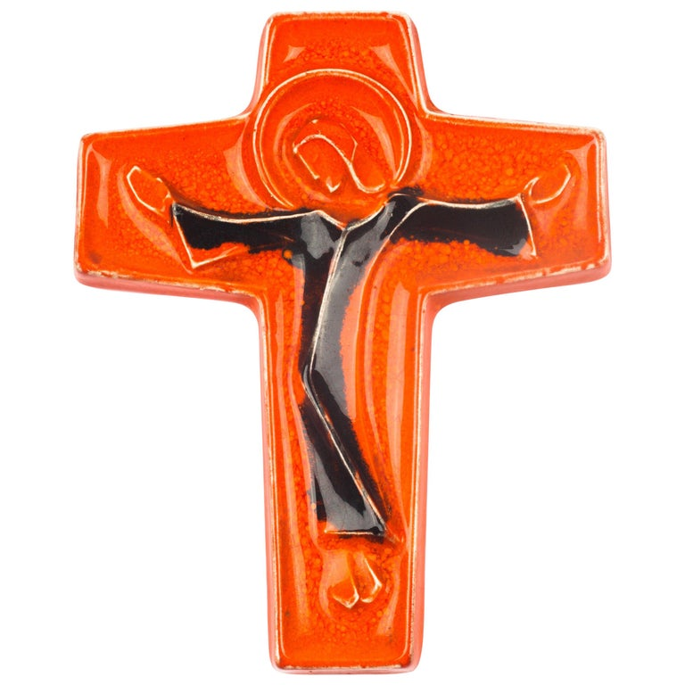 Wall Cross, Orange, Brown Painted Ceramic, Handmade in Belgium, 1970s For Sale