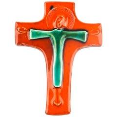 Wall Cross, Orange, Green Painted Ceramic, Handmade in Belgium, 1970s