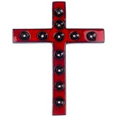 Wall Cross, Red, White, Black Painted Ceramic, Handmade in Belgium, 1970s