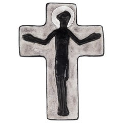 Wall Crucifix in Ceramic, Hand Painted, Grey, Black, Made in Belgium, 1950s