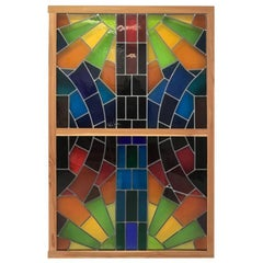 Wall Decorative Panel, Large Stained Glass, 1950